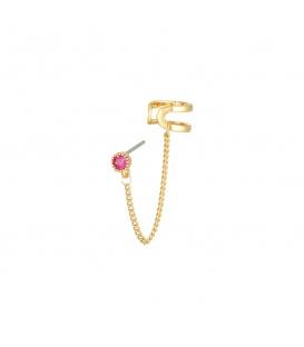 Goudkleurige oorbellen met ketting en strasssteentje en earcuff