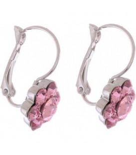 Oorbellen met roze Swarovski strass steentjes
