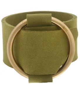Armband van breed mosgroen kunstleer met metalen riemgesp.