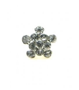 Bloemvormige zilverkleurige strass steentjes oorbellen