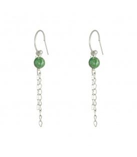 Zilverkleurige oorbellen streng en sleutel en groen steentje
