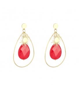 Goudkleurige oorbellen met zon en rode steen