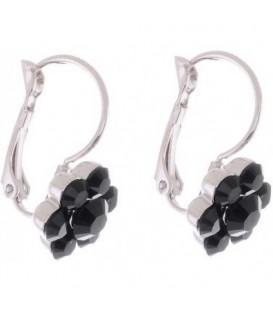 Oorbellen met zwarte Swarovski strass steentjes