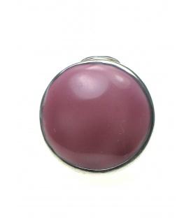 Ronde metalen oorclips met paarse inleg