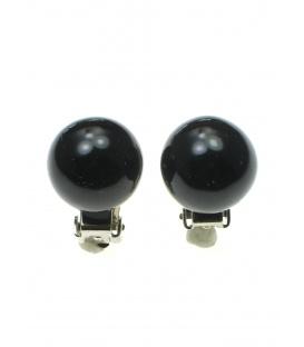 Zwarte parel oorclips (1,4 cm)