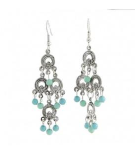 Zilverkleurige oorbellen met blauwe kraaltjes