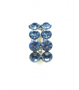 Mooie blauwe oorclips met blauwe strass steentjes