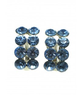 Mooie oorclips met blauwe strass steentjes