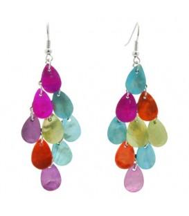 Gekleurde parelmoer plaatjes oorbellen