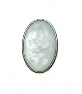 Witte ovale oorclips met kunsthars inleg