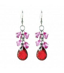 Oorbellen met roze kraaltjes en rode hanger