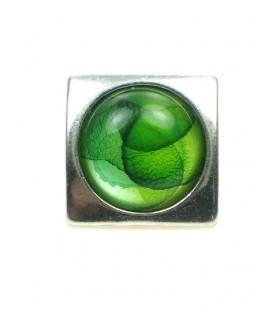 Vierkante oorclip met groene acrylaat kraal