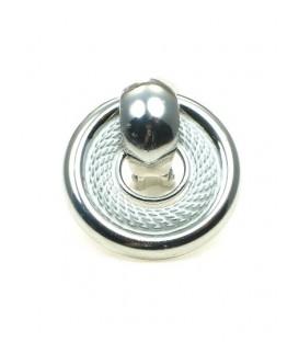 Zilverkleurige ronde oorclips met witte rand