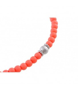 Oranje halsketting van kunststof kralen