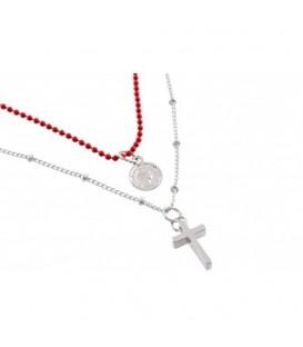 2 strengs rode kralen halsketting met kruisje en bedel