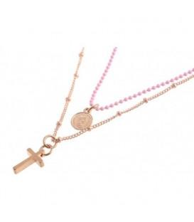 2 strengs roze kralen halsketting met kruisje en bedel