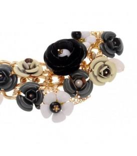 Goudkleurige metalen schakelketting met zwarte en beige bloemen