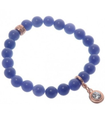 Armband van blauwe natuursteen kralen (Agaat)