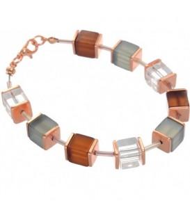 Armband van vierkanten glaskralen met rose gold accenten