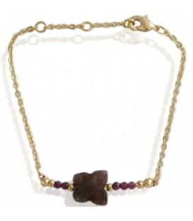 Goudkleurige armband met bruine en paarse kraaltjes