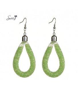 Groene strass oorbellen met een ovale hanger