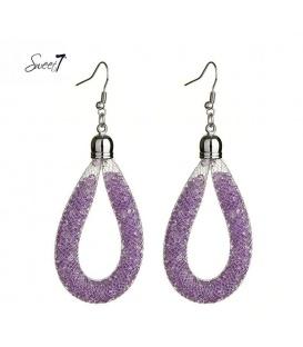 Mooie paarse oorbellen met strass steentjes