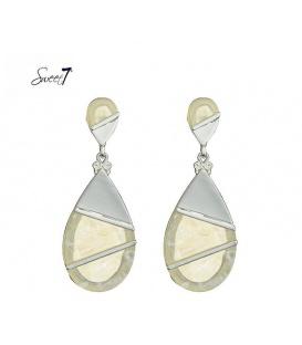Prachtige oorbellen met wit marmerachtige en zilverkleurige hanger