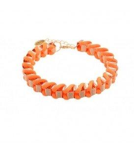 Goudkleurige schakel armband met oranje lint