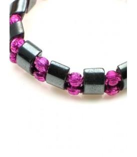Armband met hematiet kralen en lila roosjes