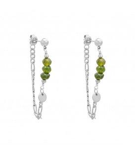 Zilverkleurige oorbellen met 3 groene kralen en een kettinkje