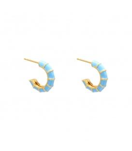 Blauwe oorringetjes met goudkleurige accenten