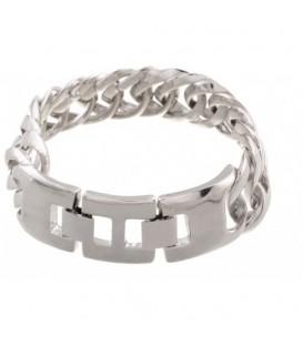 Glanzend zilverkleurige metalen schakelarmband