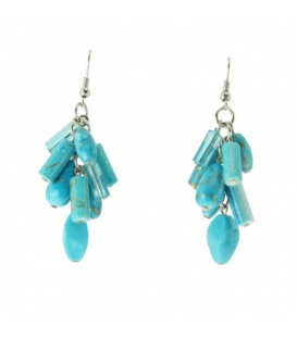 Turquoise oorbellen met kralen