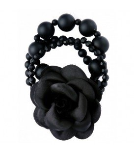 Armband met zwarte kralen en stoffen bloem