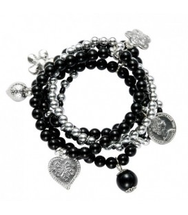 Armband van zwarte kralen en zilverkleurige bedels