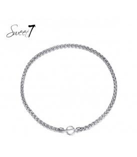 Zilverkleurige korte halsketting met een mooie sluiting