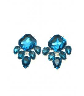 Blauwe oorclips met grote strass stenen