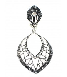 Oorclips met strass steentjes en ovale hanger in oudzilverkleur
