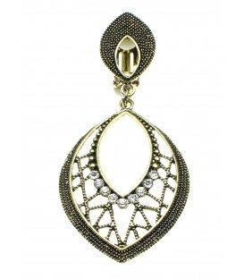 Oorclips met strass steentjes en ovale hanger in oudgoudkleur