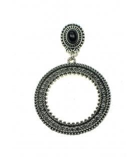 Oudzilverkleur oorclips met ronde hanger en zwart steen