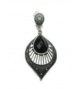 Oudzilverkleur oorclips met ovale hanger en zwart steen