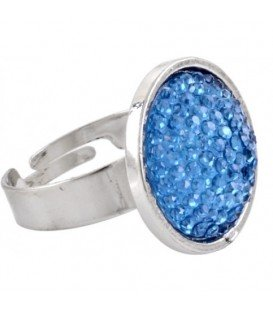 Ring met blauwe glaskraal inleg (flexibel)