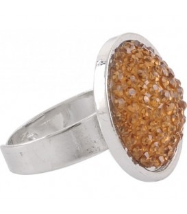 Ring met gele glaskraal inleg (flexibel)