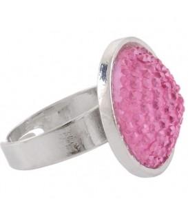 Ring met roze glaskraal inleg (flexibel)