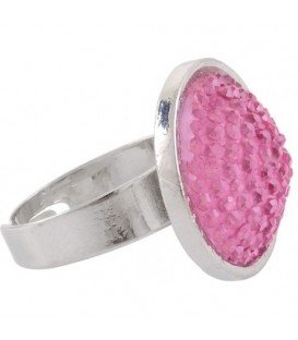 Ring met roze glaskraal inleg (flexibel)