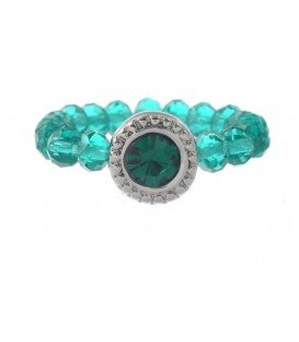 Ring van kleine glaskralen met groene strassteen (flexibel)
