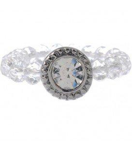 Ring van kleine glaskralen met heldere strassteen (flexibel)