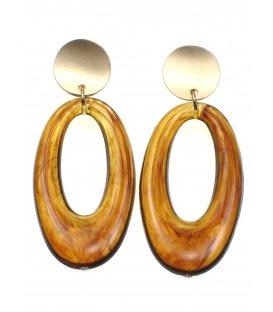 Donker bruine oorclips met ovale hanger en goudkleurig klemmetje