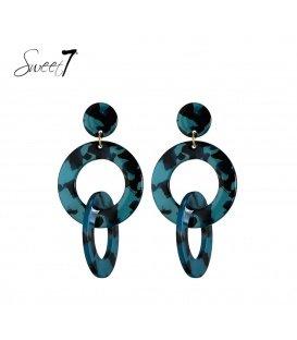 Blauw gekleurde oorbellen met 2 ronde hangers
