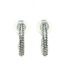 Halfronde zilverkleurige oorclips met heldere strass steentjes